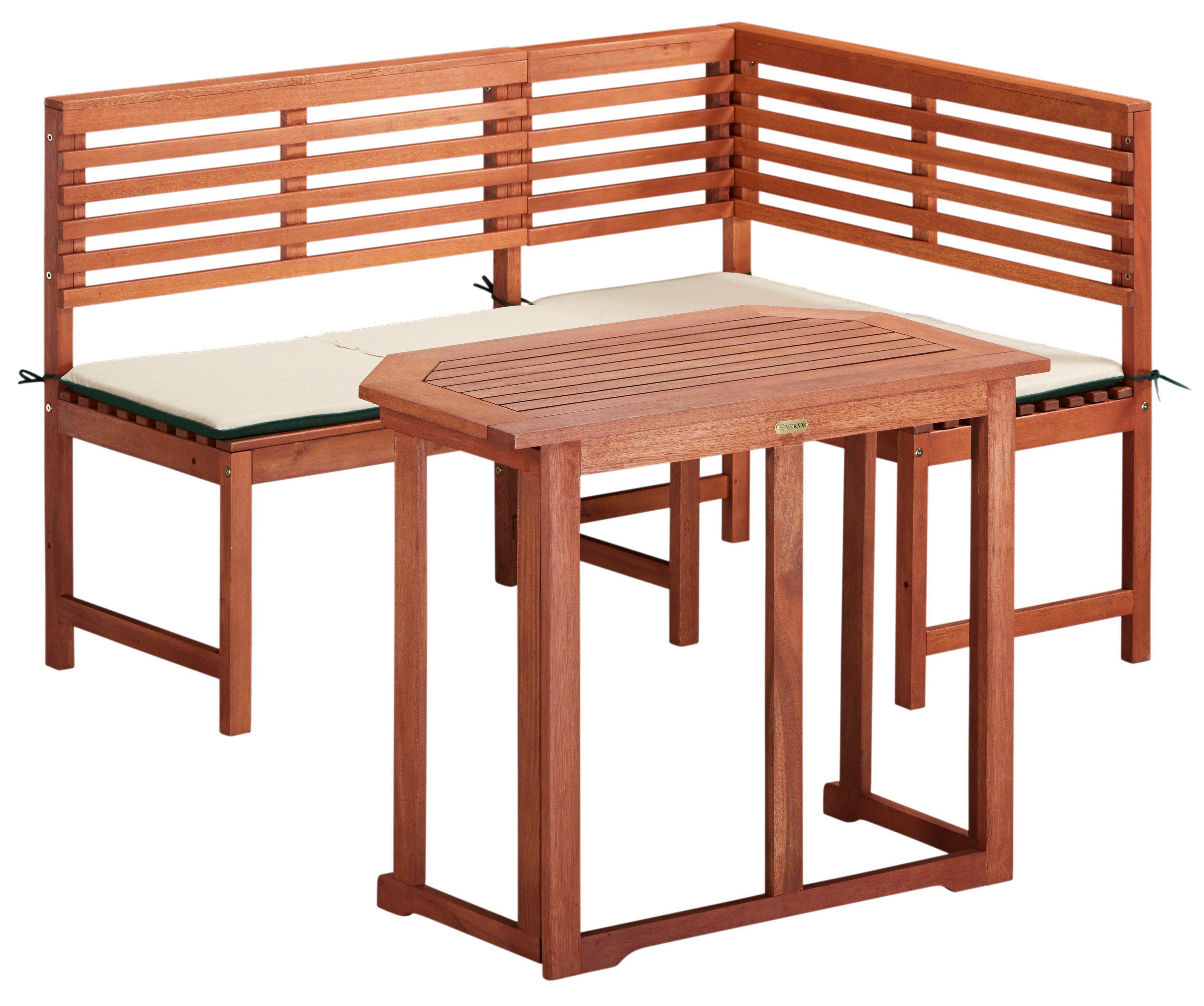 MERXX Gartenmöbelset 4-tlg., Eckbank, Tisch 90x60 cm, klappbar, Eukalyptus, braun