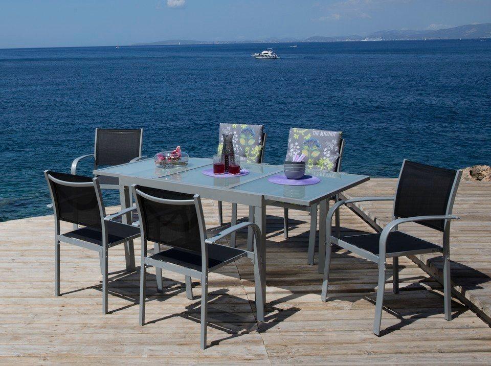 7-tgl. Gartenmöbelset »Lima«, 6 Sessel, Tisch 120-180 cm, Alu/Textil, schwarz in schwarz