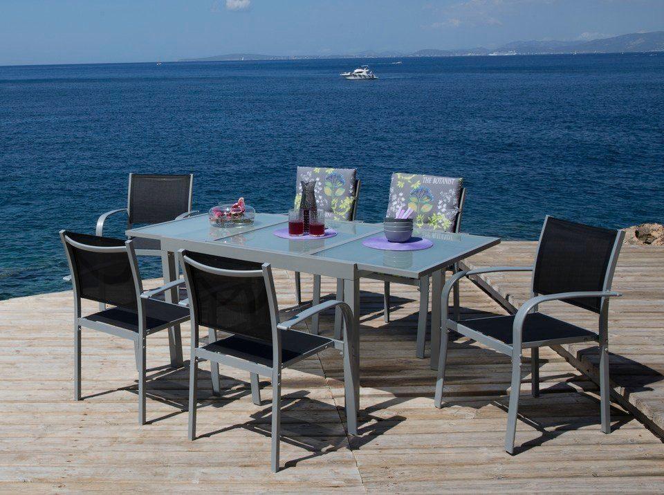 7-tgl. Gartenmöbelset »Lima«, 6 Sessel, Tisch 120-180 cm, Alu/Textil, schwarz