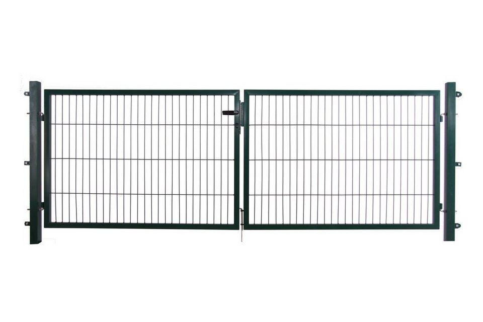 Zaun-Doppeltür für Einzelstabmatte grün, Breite: 2 x 150 cm (in 3 Höhen)