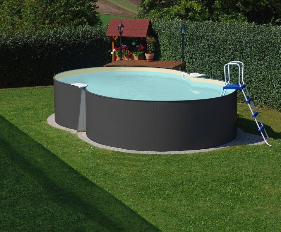 Hanseatic achtformpool achtformpool set anthrazit 6 tlg for Garten pool unterbau