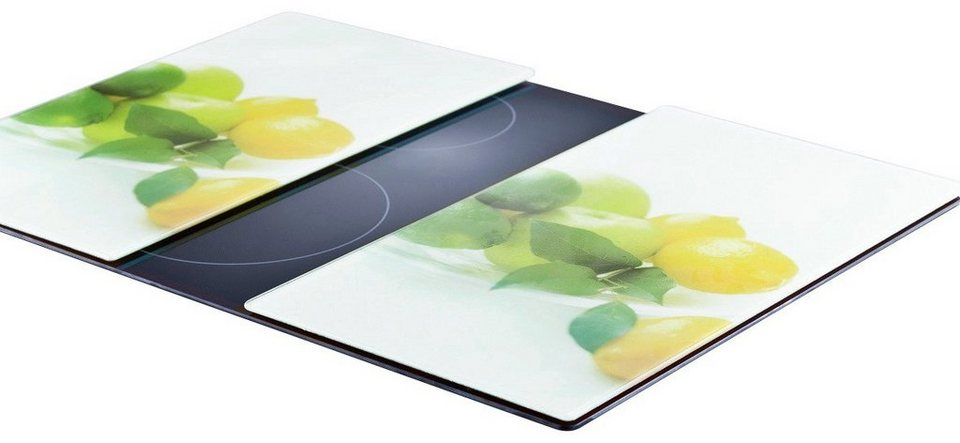 Herdabdeckplatten »Zitrone« 2er-Set in weiß/grün