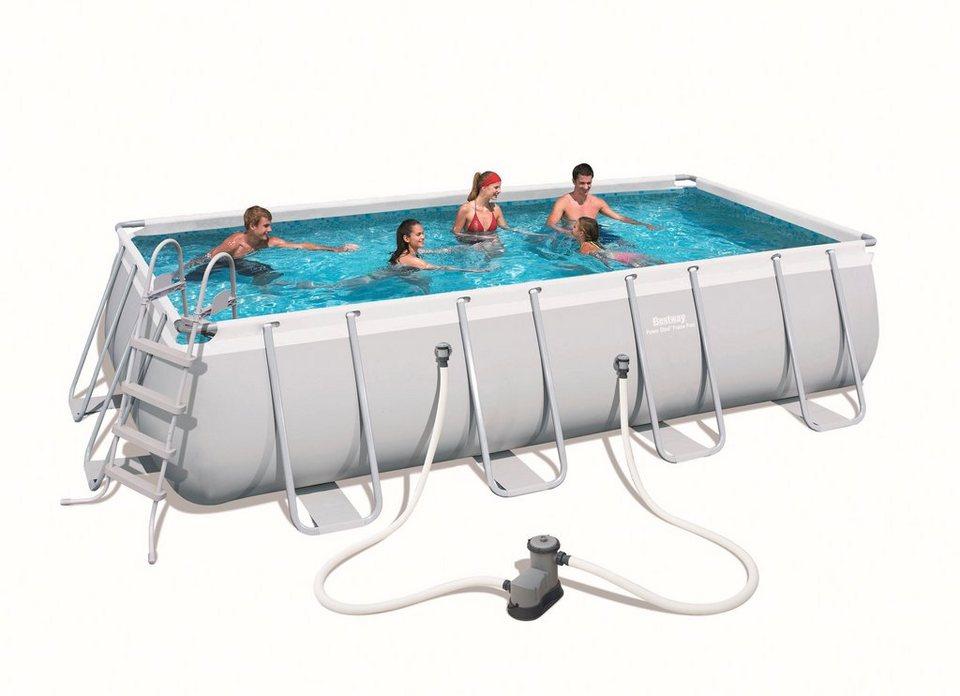 """Bestway Set: »Frame Pool """"Power Steel"""" 549x274x122 cm rechteckig mit Filterpumpe + Zubehör« in grau"""