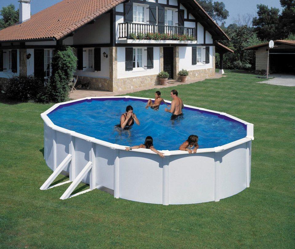 Set 5 tlg aufstell ovalpool mit breitem handlauf in for Otto pool oval