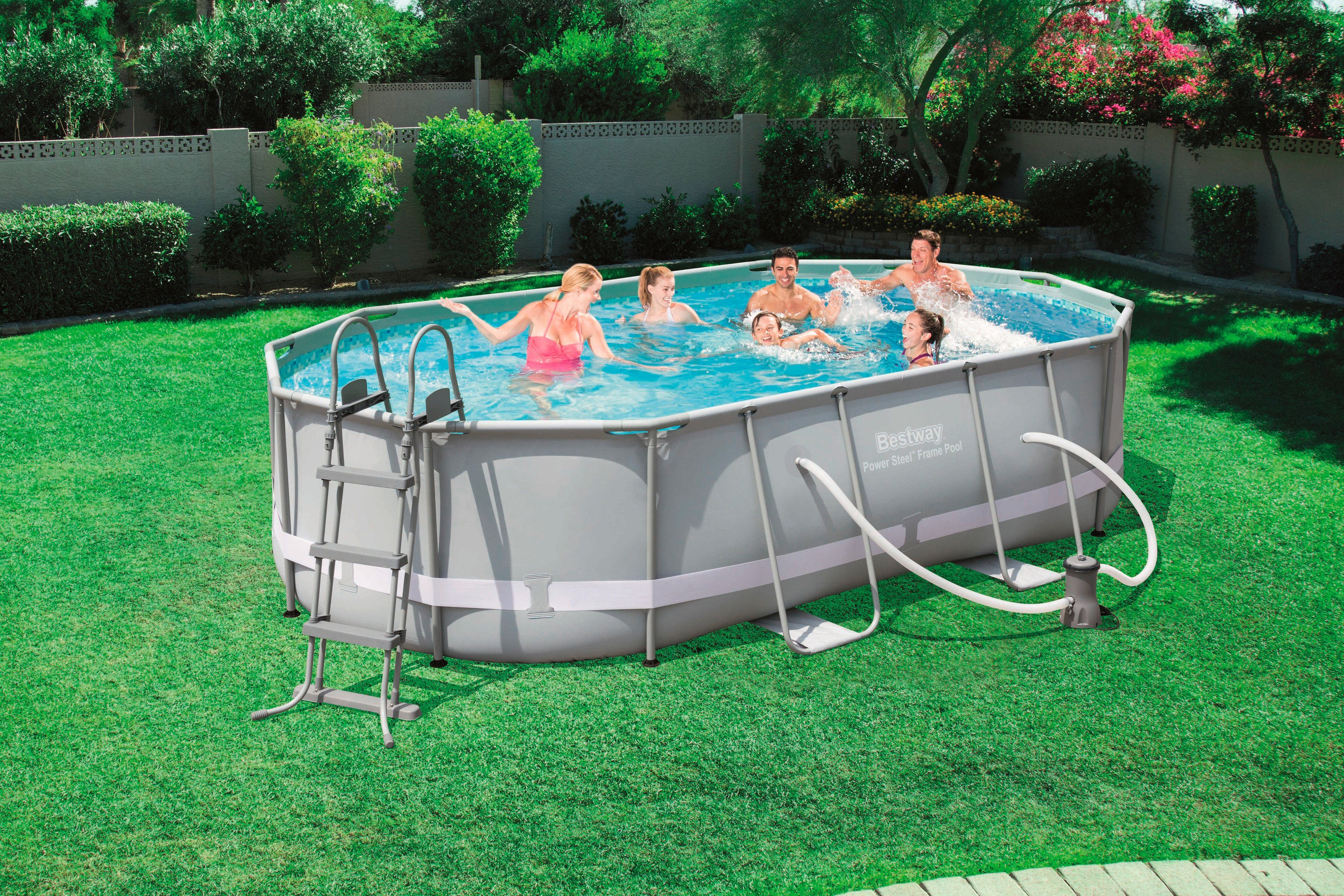 """Bestway Set: »Frame Pool """"Power Steel"""" 488x305x107 cm oval mit Filterpumpe + Zubehör«"""