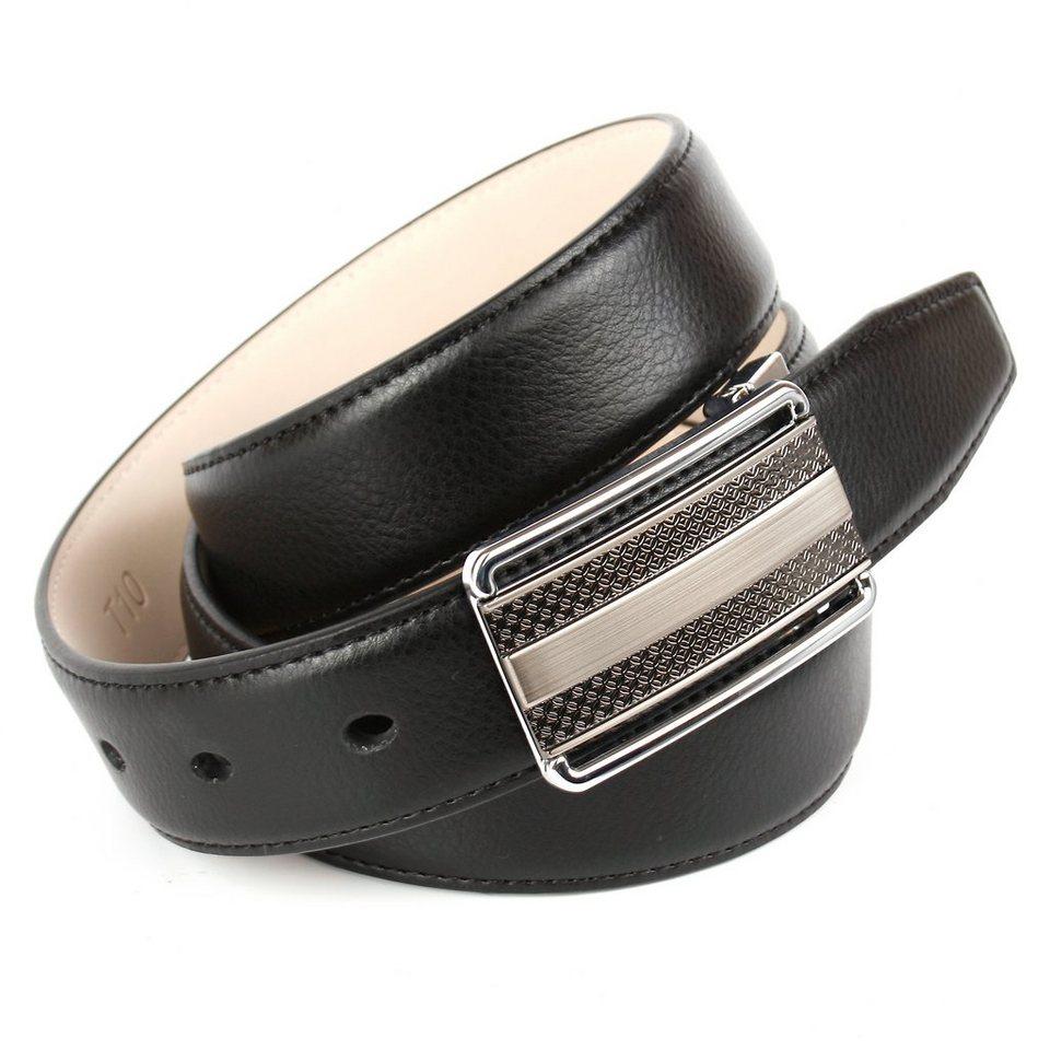 Anthoni Crown Ledergürtel mit einer bicoloren Koppelschließe in Schwarz