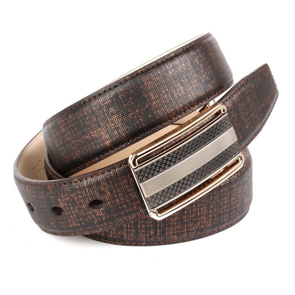 Anthoni Crown kupferfarbener Ledergürtel mit einer bicoloren Koppelschließe in Braun