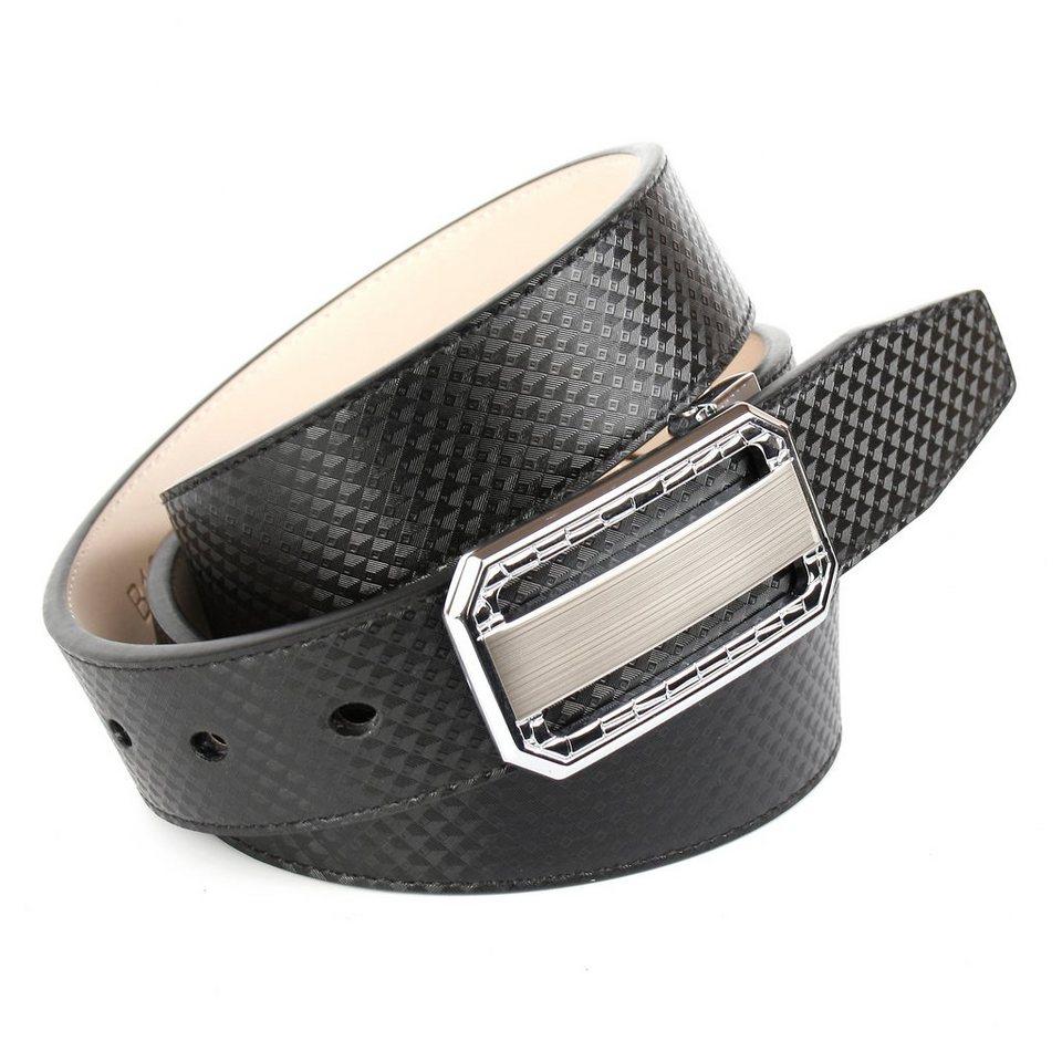 Anthoni Crown Gradkantiger Gürtel mit silberfarbener Koppelschließe in Schwarz