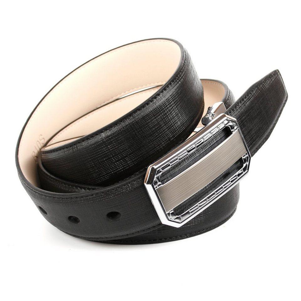 Anthoni Crown Ledergürtel mit einer silberfabenen Koppelschließe in Schwarz