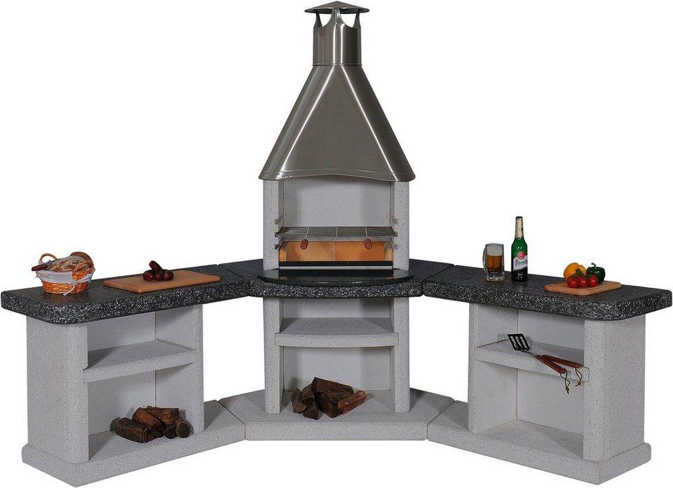 Gartenkamin/Außenküche »Ardea« Edelstahl, weiß/grau/schwarz in grau