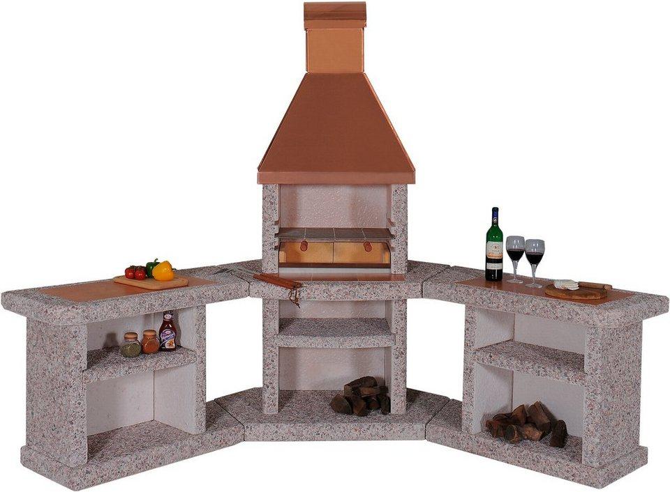 Gartenkamin/Außenküche »Toskana« Kuper in rot
