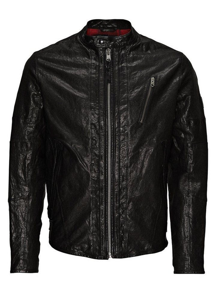 Jack & Jones Detaillierte Lederjacke in Black