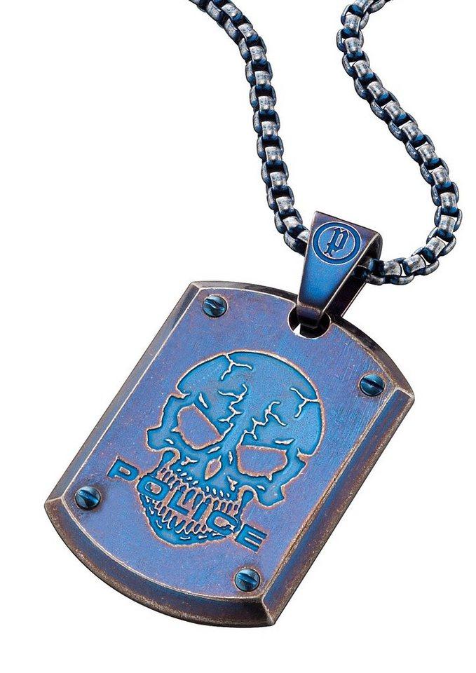 Police Kette mit Totenkopfanhänger, »PROWLER, PJ25607PSEBL-SKULL« in blau
