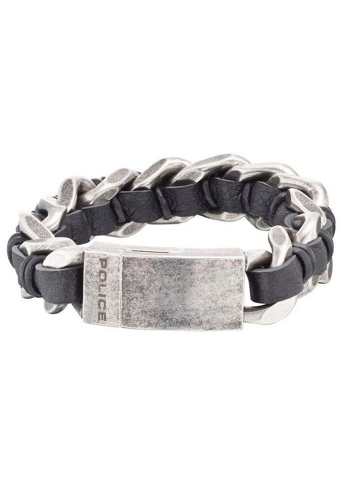 Police Armband, »ROCK, PJ25599BSE-01-S, PJ25599BSE-01-L« in silberfarben/schwarz