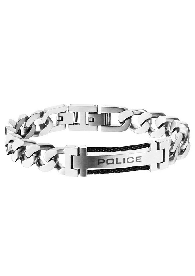 Police Armband, »SALUTE, PJ25506BSS-01« in silberfarben/schwarz