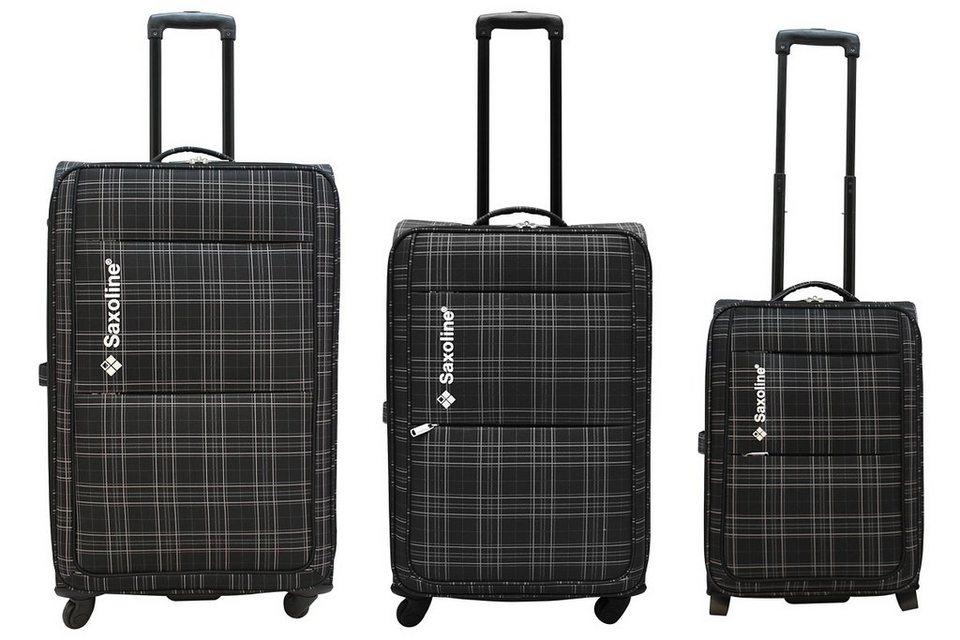 Saxoline Weichgepäck Trolley-Set mit 2/4 Rollen, »New Checker« (3tlg.) in schwarz/kariert