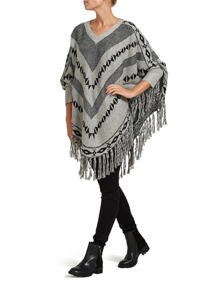 Only Gestrickt Poncho in Pumice Stone