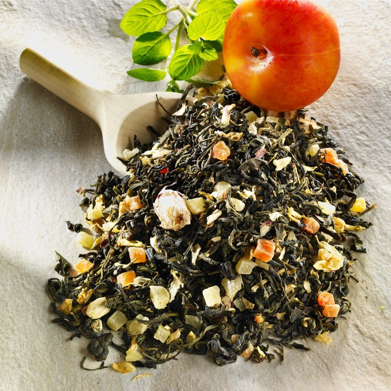 Schrader Aromatisierter grüner Tee Lotusblüte Aprikose