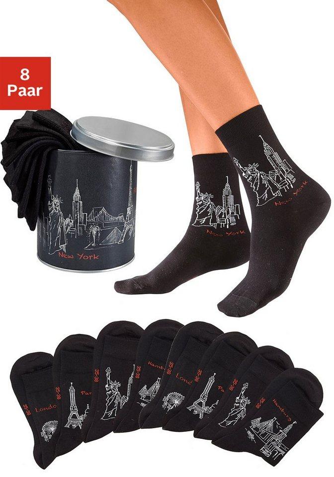 Arizona Socken (8 Paar) im Städtedesign in der Geschenkdose in 8x schwarz