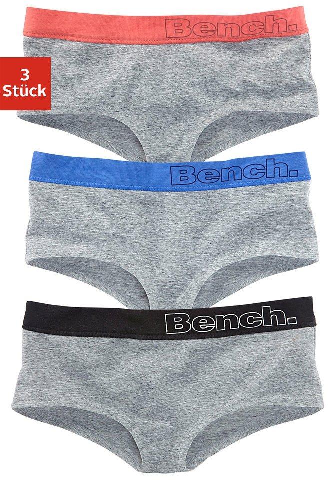 Bench Baumwoll- Panties (3 Stück) mit bequemem Bund in 3x grau meliert