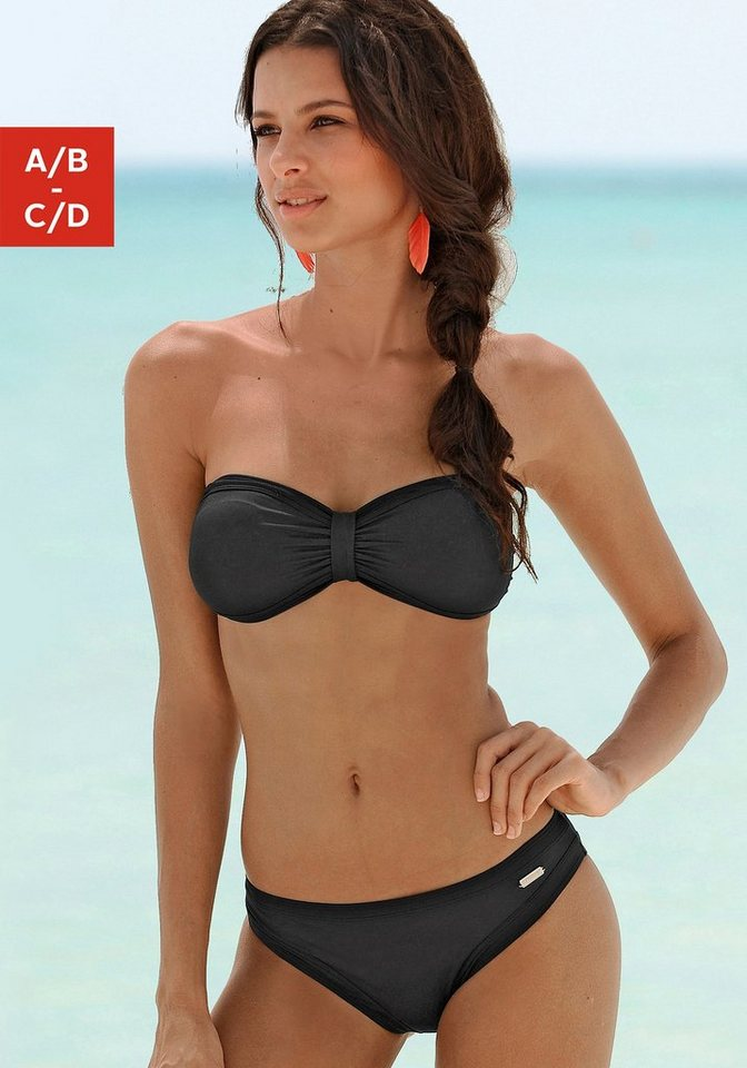 Bademode - Sunseeker Bandeau Bikini »Miami« Im trendigen Tropical Print › schwarz  - Onlineshop OTTO