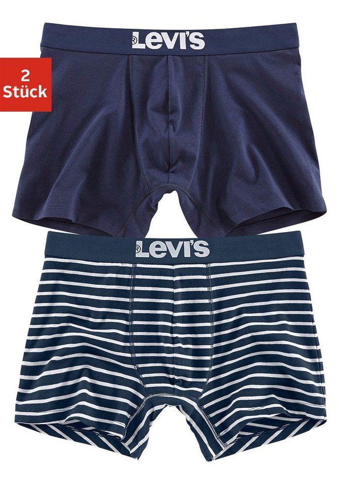Levi's Boxer (2 Stück) in normaler Passform und Logo auf dem Bund in marine + gestreift