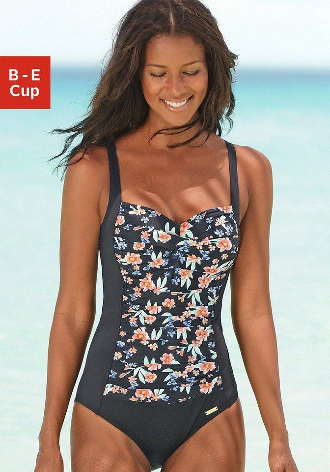 LASCANA Badeanzug in schwarz-bedruckt