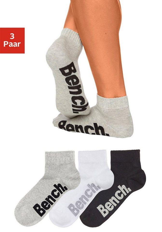 Bench Sneakersocken (3 Paar) mit hohem Baumwollanteil in schwarz + weiß + grau mel.