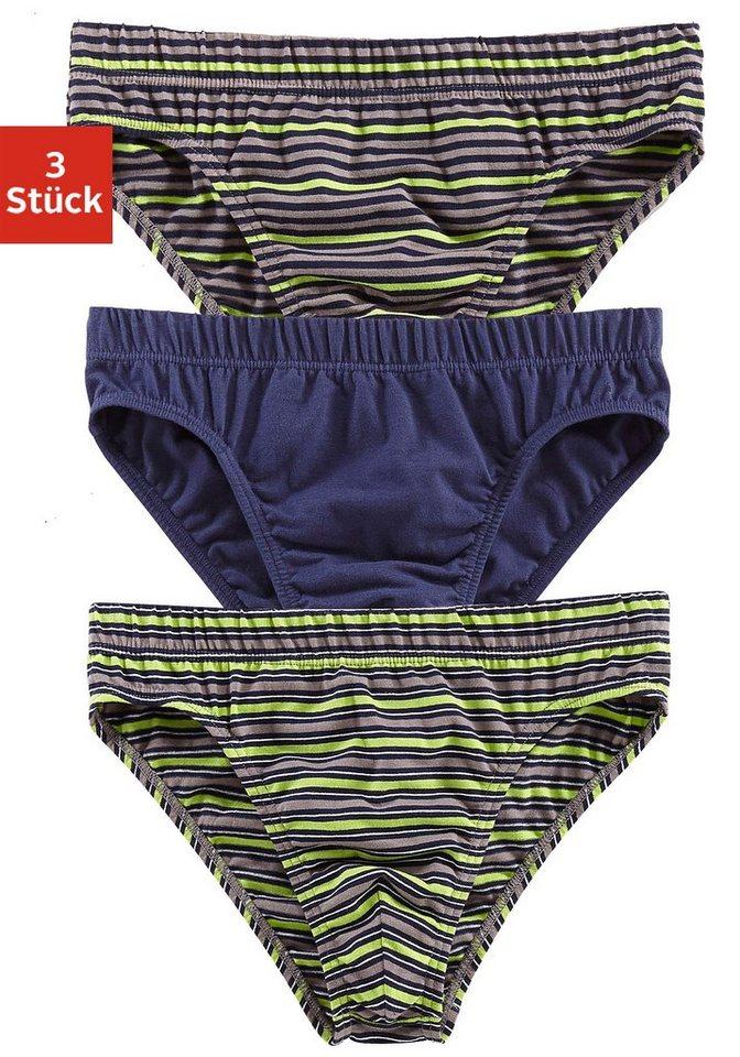 Authentic Underwear Slip (3 Stück), uni und mit garngefärbten Streifen in 1x marine + 2x grün gestreift