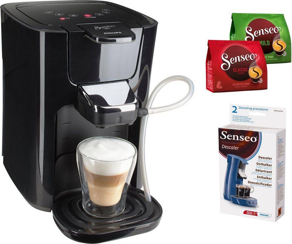 SENSEO® Kaffeepadmaschine HD7855/50 LatteDuo, inkl Gratis-Zugaben im Wert von 14 € in schwarz-grau