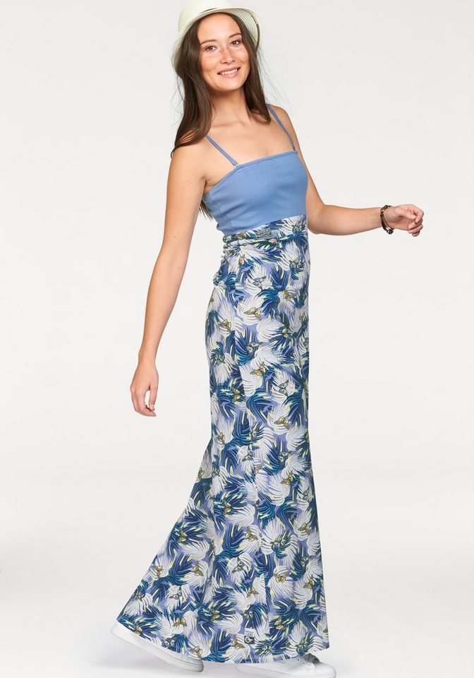 KangaROOS Maxikleid als Kleid und Rock tragbar in rauchblau-gemustert