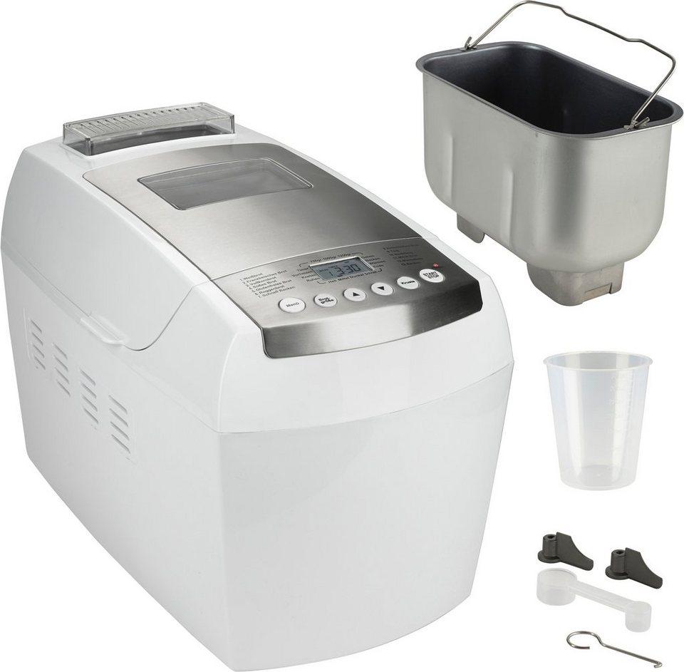 gourmetmaxx Brotbackautomat Deluxe, 13 Teigprogramme, mit Frucht- und Nuss-Spender in weiß