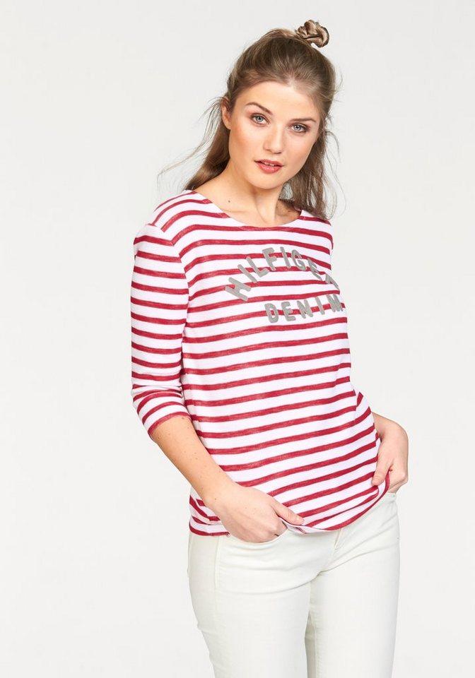 Hilfiger Denim T-Shirt mit Markenschriftzug in rot-weiß-gestreift