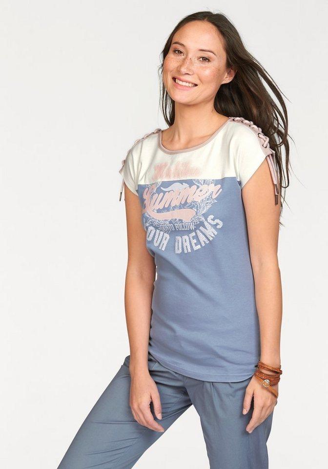 KangaROOS Print-Shirt mit Schulterflechtdetail in hellblau-weiß