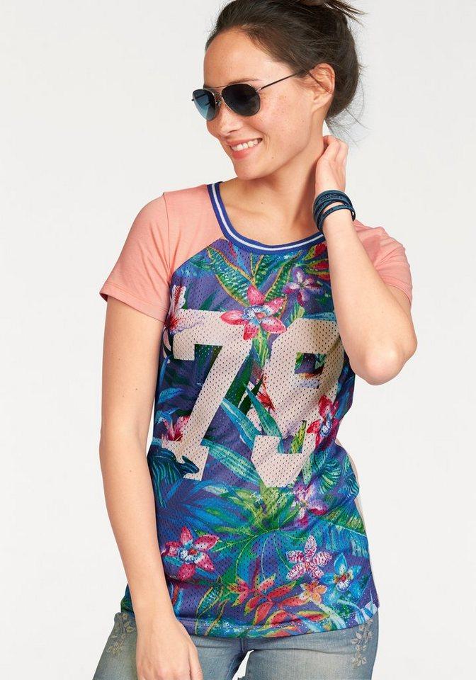 KangaROOS T-Shirt mit bedrucktem Mesh-Einsatz in apricot