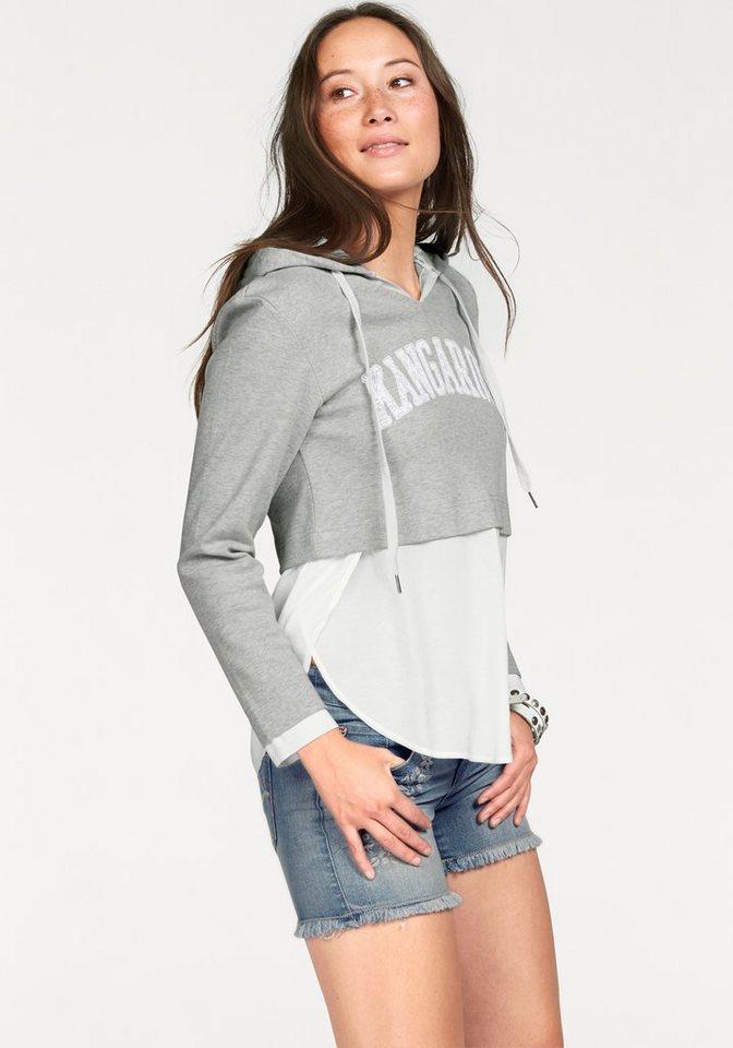 KangaROOS Kapuzensweatshirt in Kurzform in grau-meliert