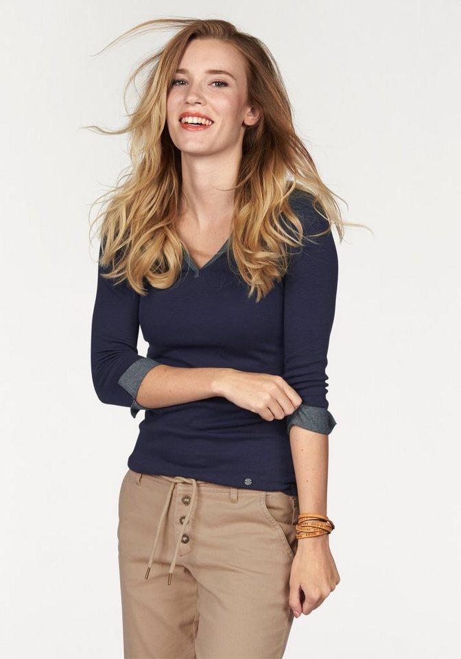 AJC V-Shirt mit Details aus leichter Jeans-Ware in marine-indigo