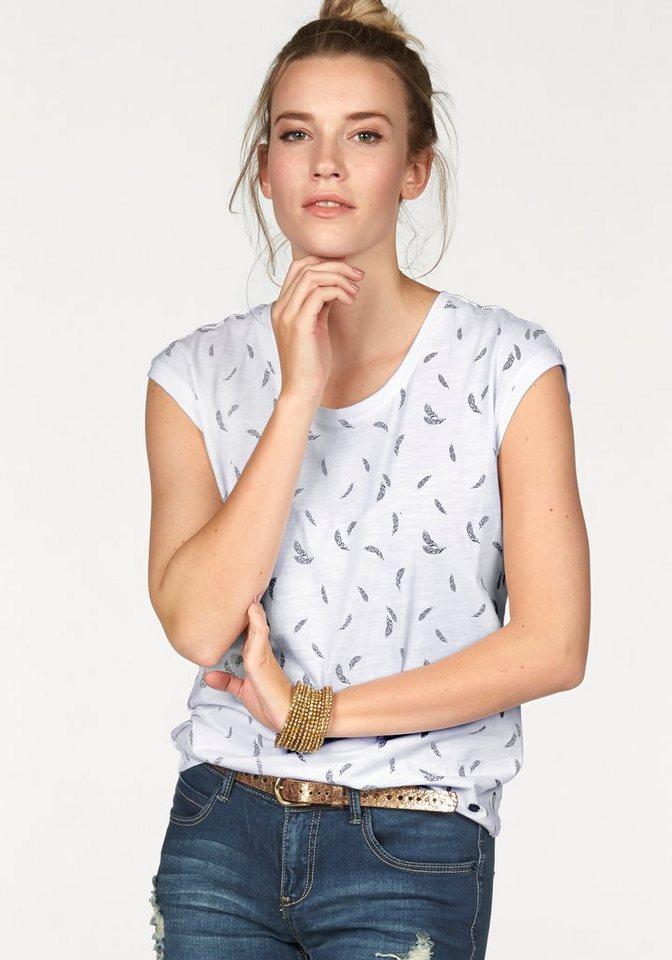 AJC Rundhalsshirt mit Punkte, Anker oder Feder Druck in weiß-schwarz