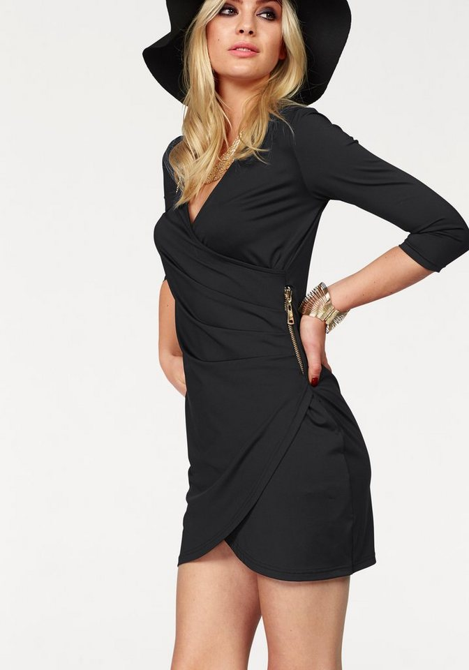 Melrose Jerseykleid mit Zier-Zipper in schwarz