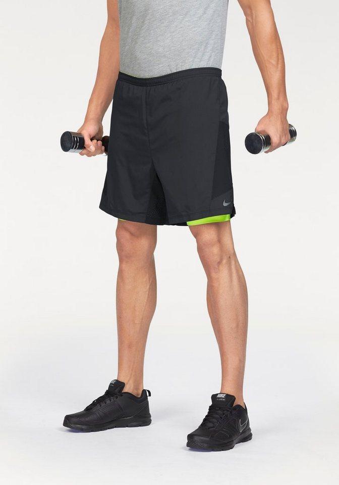 """Nike 2-in-1-Shorts »7"""" PURSUIT 2-IN-1 SHORT« Enge, anliegende Short mit weiter Shorts in schwarz-neongelb"""