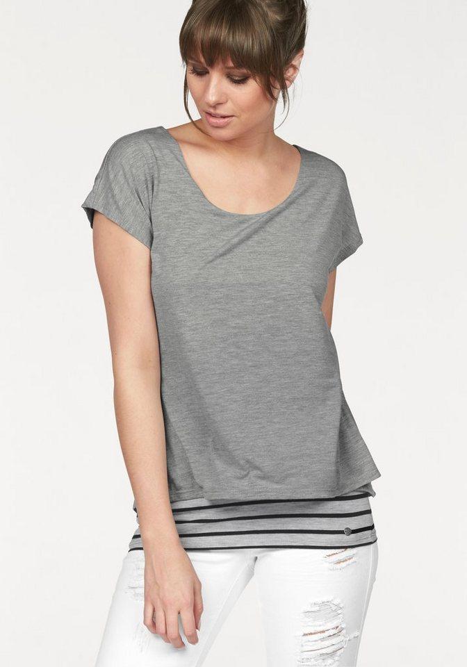 AJC T-Shirt in 2-in-1 Optik in grau-meliert