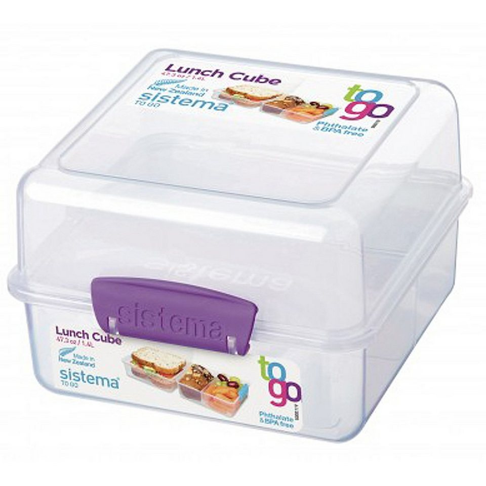 sistema sistema Lunch Box To Go, Clip lila in transparent, lila