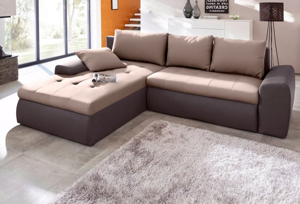 Sit&More Polsterecke inklusive Bettfunktion in braun/macciato