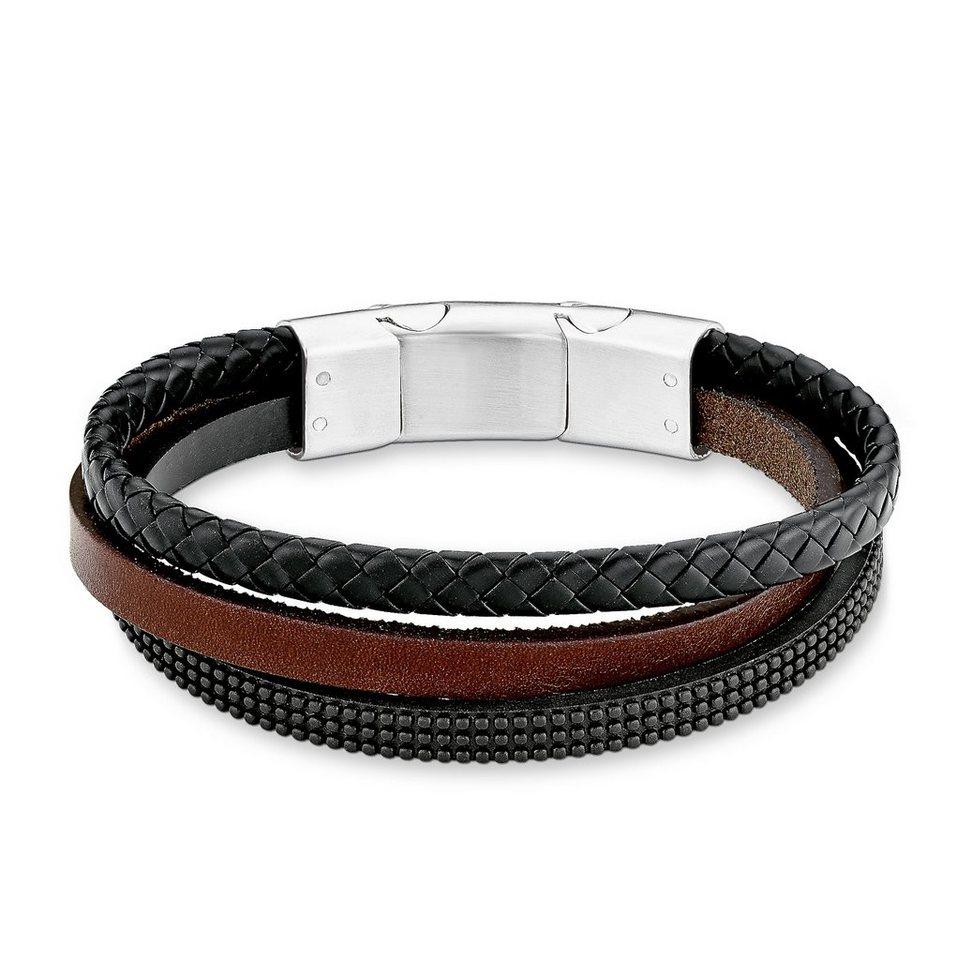 s.Oliver Junior Armband aus Leder, »SOK220/1« in silberfarben/schwarz/braun