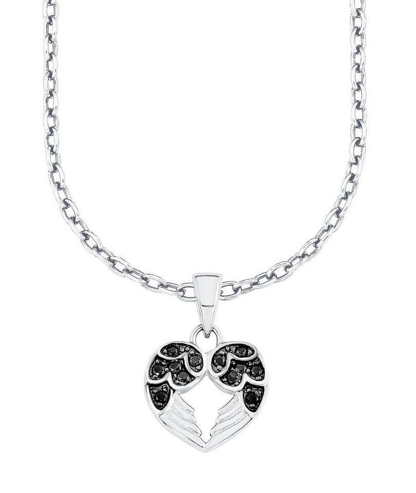s.Oliver Junior Halskette mit Zirkonia, »Herz & Flügel, SOK208/1« in Silber 925/schwarz