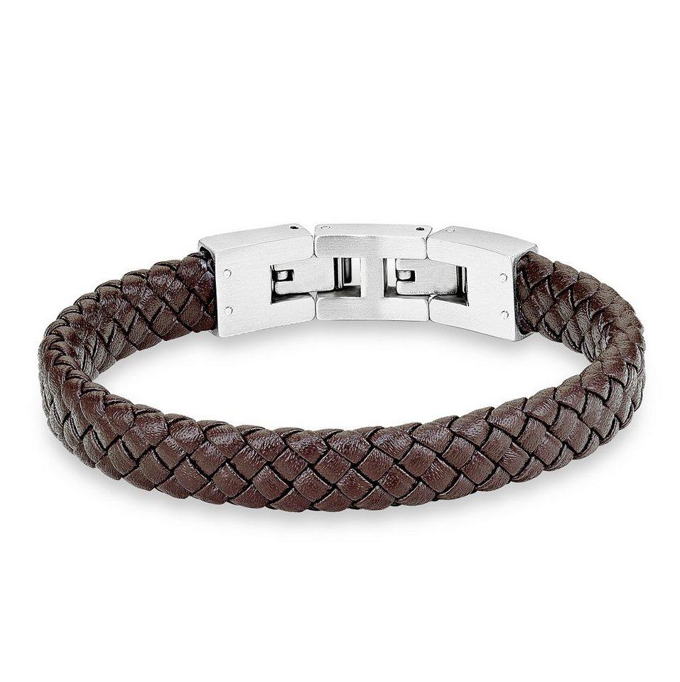 s.Oliver Junior Armband aus Leder, »SOK225/1« in silberfarben/braun