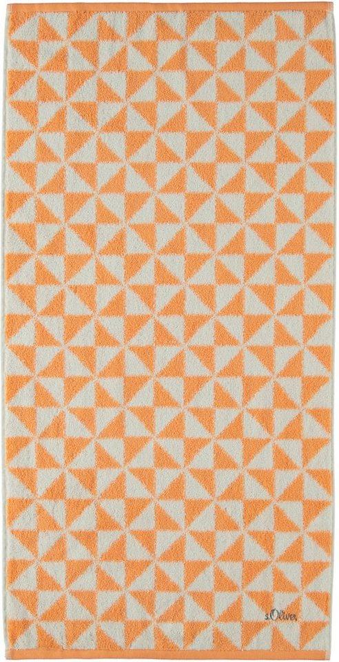 Handtücher, s.Oliver RED LABEL, »Triangel«, mit Dreiecken in mandarine