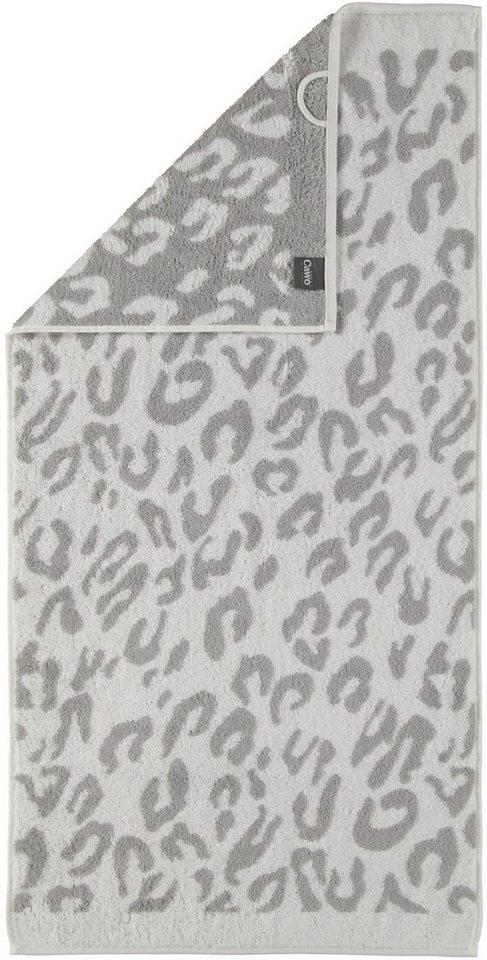 Badetuch, Cawö, »Instinct Leopard«, mit trendigem Fellmuster in silberfarben