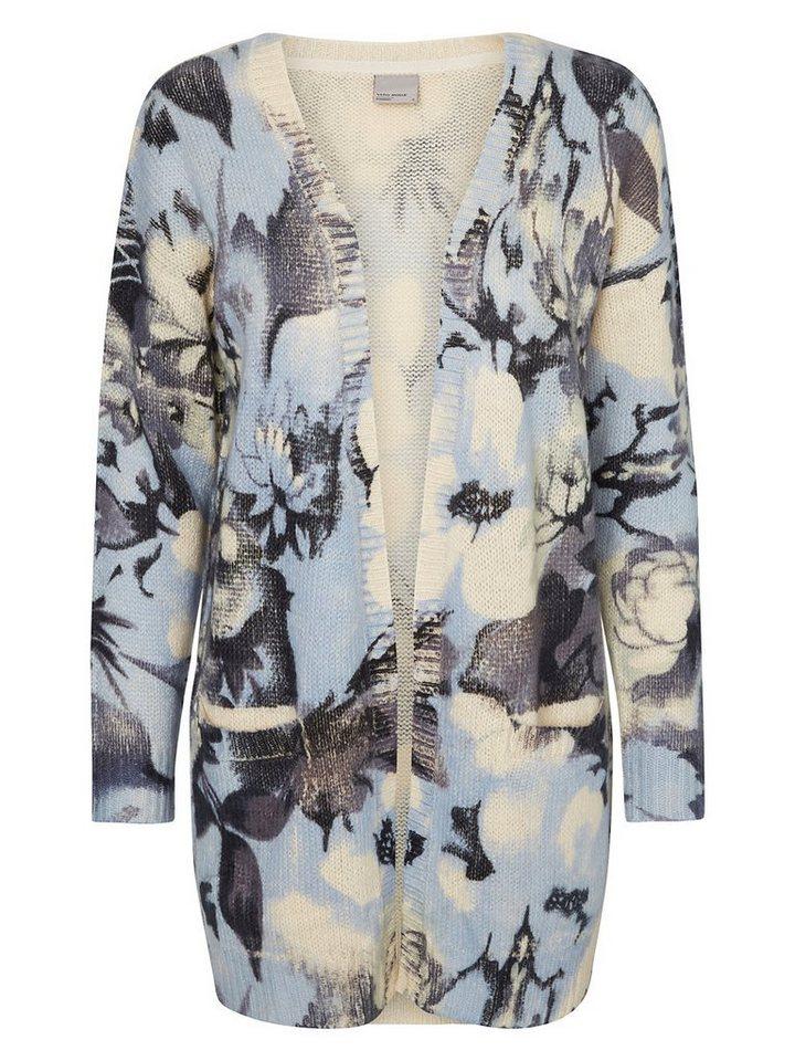 Vero Moda Blumenbedruckte Strickjacke in Sky Gray