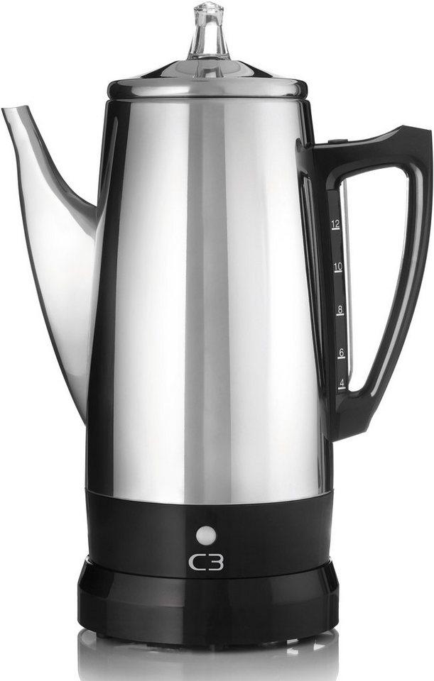 C3 Kaffeebereiter Perkolator Basic, für 4-12 Tassen, 875 Watt, silber in silber
